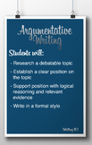 Common Core Standard Poster - Argumentative Writing