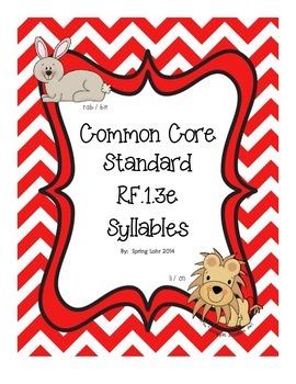 Common Core Standard RF.1.3e - Syllables