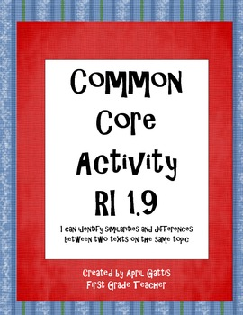 Common Core Standard RI 1.9 Similarities and Differences in two texts