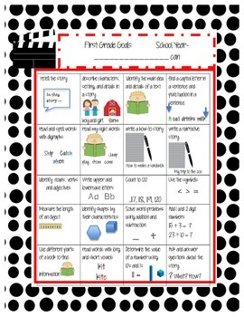 Common Core Standard Sheet for 1st Grade HOLLYWOOD (English and Spanish)