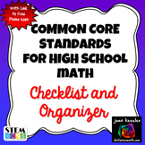 Common Core Standards for High School Mathematics with Checklist and Free App