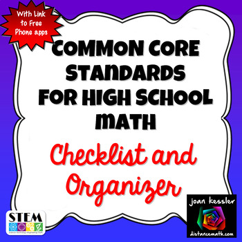 Common Core Standards for High School Mathematics with Che