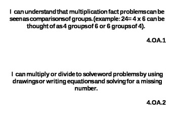 Common Core Standards 4th Grade Math