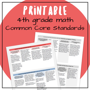 Common Core Standards 4th Grade Math Compact Printable