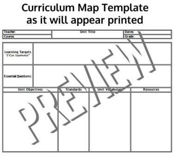 Curriculum Map Template | Common Core Standards Aligned Curriculum Map Templates Any