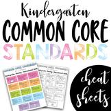 Kindergarten Common Core Standards Cheat Sheets