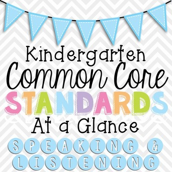 Common Core Standards Cheat Sheets- Kinder Speaking and Listening