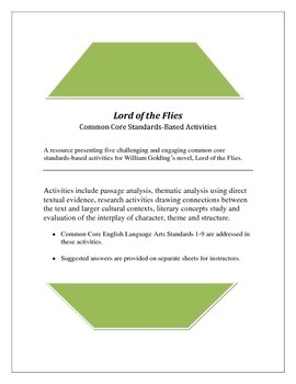 Common Core Standards-Based Activities for LORD OF THE FLIES