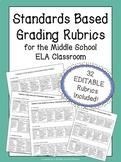 Standards-Based ELA Rubrics | Includes 32 EDITABLE Rubrics for ALL Standards!