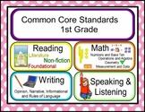 Common Core Standards Board Cards- Grade 1