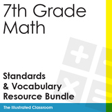 7th Grade Math Common Core Standards I Can Statements and Vocabulary Bundle