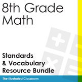 8th Grade Math Common Core Standards I Can Statements & Vocabulary Bundle