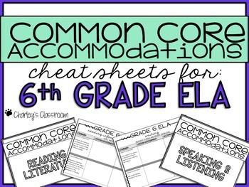 Common Core Standards *Cheat Sheet* {ELA 6}