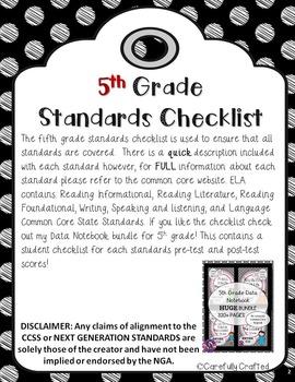 Common Core Checklist 5th Grade ELA