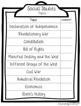 Common Core Checklist 5th Grade Math, Science, and Social Studies
