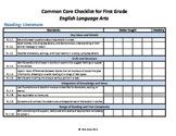 Common Core Standards Checklist First Grade -ELA