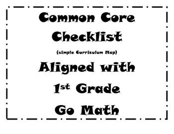 Common Core Standards Checklist - Go Math