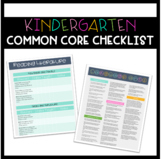Common Core Standards Checklist- Kindergarten