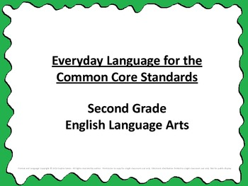 Common Core Standards Checklist Posters Easy to Understand Language Second Grade