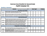 Common Core Standards Checklist Second Grade - ELA