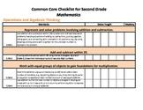 Common Core Standards Checklist Second Grade - Math