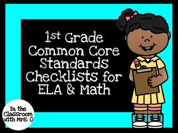Common Core Standards Checklists for 1st Grade