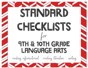Common Core Standards Checklists for 9th or 10th Grade Language Arts