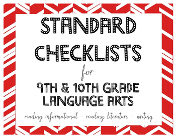Common Core Standards Checklists for 9th or 10th Grade Lan