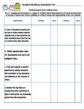 Common Core Standards Checklists for Fifth Grade