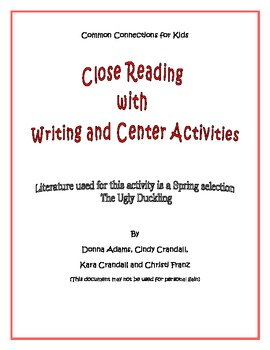 Common Core Standards Close Reading and Writing Activities for The Ugly Duckling