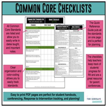 Grades 3, 4, & 5 ELA & Math Common Core Checklists