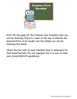 Common Core Standards ELA Checklist for 9-10th Grade