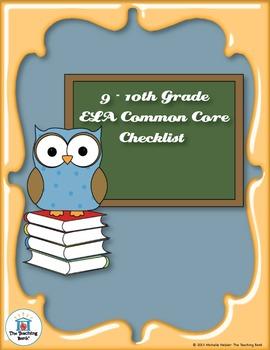 Common Core Standards ELA Checklist for 9-10th Grade