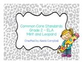 Common Core Standards ELA Grade 2 Mint Gray Leopard Print