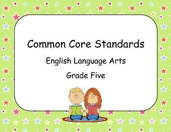 Common Core Standards ELA Grade 5 Star Theme