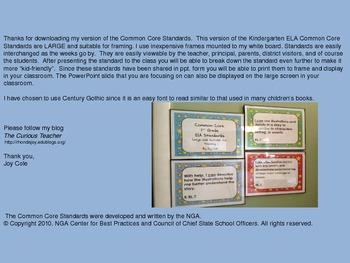 Common Core Standards - ELA Kindergarten - Large/Blue