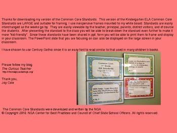 Common Core Standards - ELA Kindergarten - Large/Red