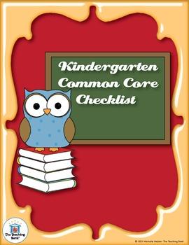Common Core Standards ELA & Math Checklist for Kindergarten