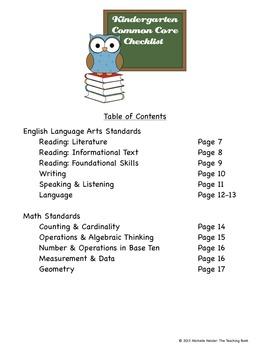 Common Core Standards ELA & Math Checklist for Kindergarten-2nd Grade