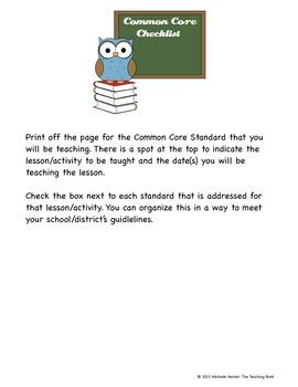 Common Core Standards ELA & Math Checklist for Second Grade