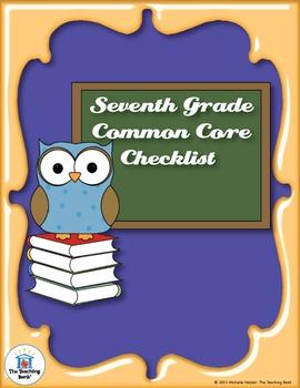 Common Core Standards ELA & Math Checklist for Seventh Grade