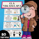 ELA Word Wall, ELA Vocabulary & ELA Interactive Notebook Inserts