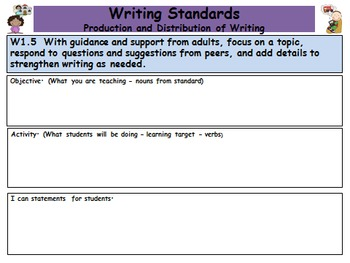 Common Core Standards First Grade Teacher Planner 2015-2016