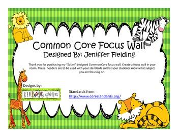 Common Core Standards Focus Wall (SafariThemed)