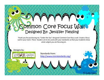 Common Core Standards Focus Wall (Under the SeaThemed)