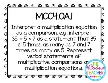 Common Core Standards Posters Fourth Grade Math