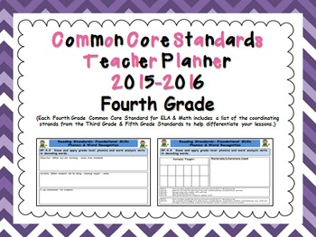 Common Core Standards Fourth Grade Teacher Planner 2015-2016