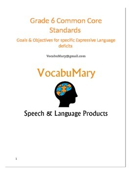 Common Core Standards Goals & Objectives for Vocabulary Deficits Gr. 6