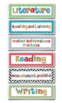 Common Core Standards Headers - Math and Language Arts to match the card sets.