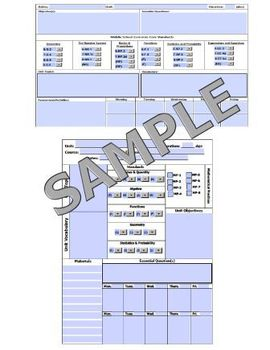 Common Core High School Middle School Lesson Plan Templates UPDATED